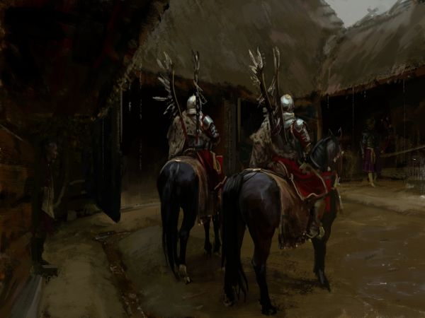 polish-hussars-in-the-yard